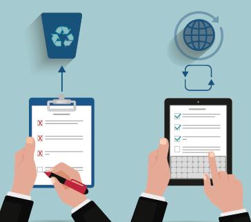 Illustration zum Vergleich von manuellen und digitalen Checklisten